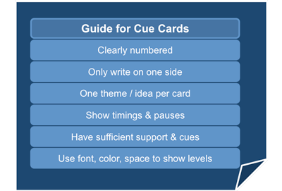 Guide for presentation cue cards