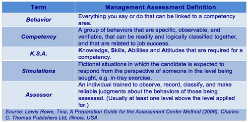 Management Assessment Definitions
