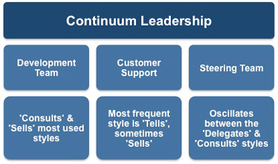 The leadership continuum and the example teams