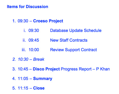 An Example Meeting Agenda Detailing The Items For Discussion  Agenda Layout Examples